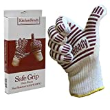 KitchenReady Premium Cooking Gloves, Heat Resistant To 932˚ Oven BBQ Mitts, 100% Cotton Lining, Silicone Stripes for Ultimate Safe Grip, Baking, Barbecue, Grilling, Kitchen, Chef Accessories