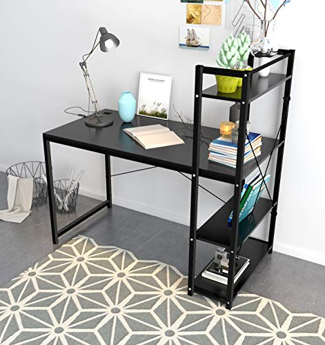 Computer Desk,Modern Style Office Desk with 4 Tier Bookshelves Workstation,Home Wood & Metal (Black)