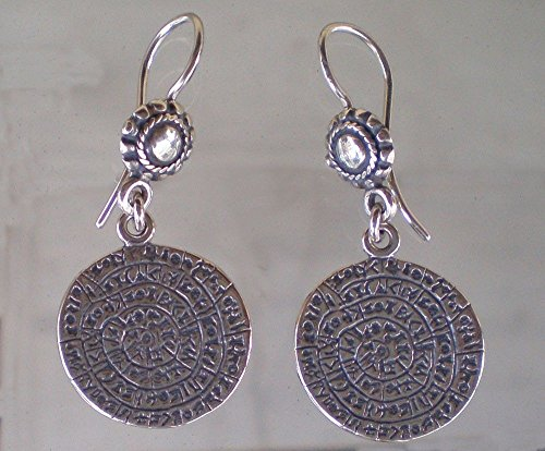 Phaistos Disc Coin Earrings - High Quality Silver Item - Ancient Greece