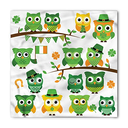 St. Patrick's Day Bandana by Ambesonne, Irish Owls with Leprechaun Hats on Trees Shamrock Leaves Horseshoe, Printed Unisex Bandana Head and Neck Tie Scarf Headband, 22 X 22 Inches, Green and White from Ambesonne
