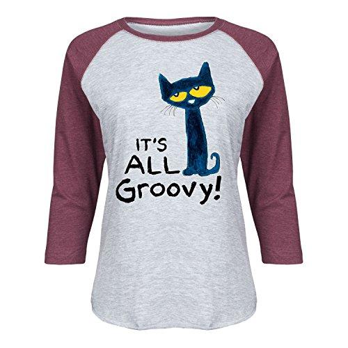 Pete the Cat It's All Groovy-Funny Ladies Raglan-2 X-Large-2XL