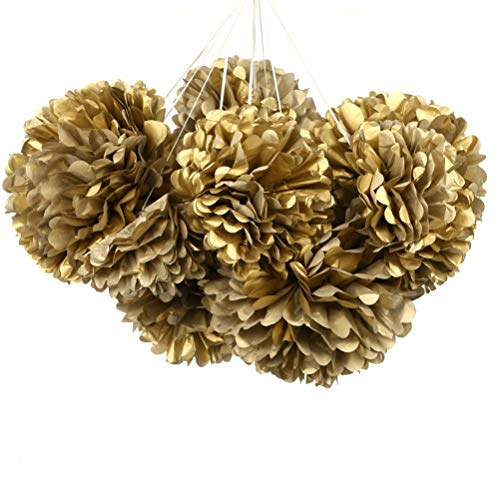 MOWO Gold Tissue Paper Flower Party Favor 12pc
