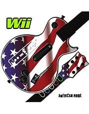 Mightyskins Skin Decal Skin Compatible with Guitar Hero 3 III Nintendo Wii Les Paul - American Pride