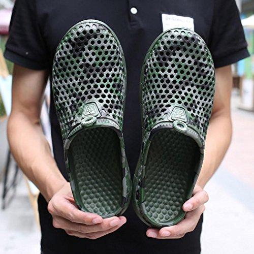 Fheaven Mens Pantofola Estate Asciugatura Rapida Spiaggia Piatta Traspirante Sandali Esterni Scava Fuori Le Scarpe Verde Militare