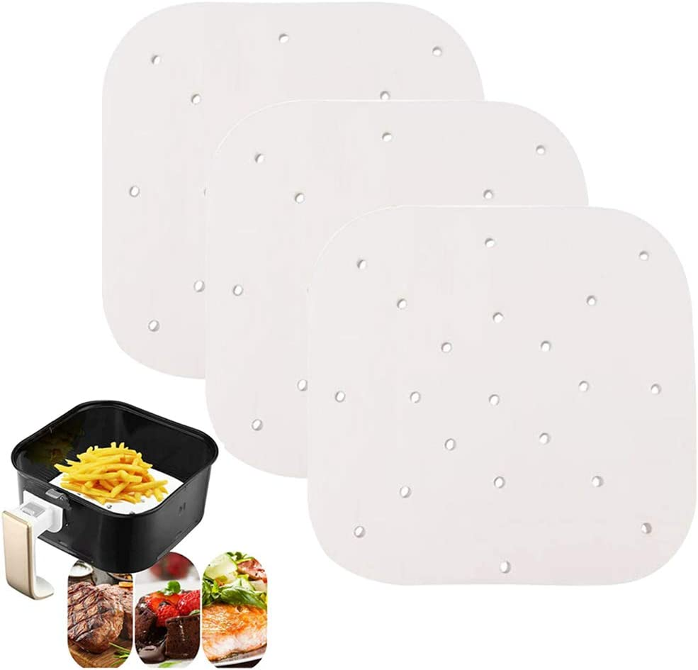 200 PCS 8.5 inch Square Air Fryer Liners Steaming Parchment Liner Non-stick Basket Mat Perforated Parchment Paper for Air Fryer Steaming Basket Baking Cooking etc