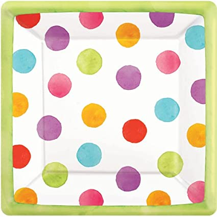 Amscan Disposable Square Paper Dessert Plates in Watercolor Polka Dots (18 Pack) 7  sc 1 st  Amazon.com & Amscan Disposable Square Paper Dessert Plates in Watercolor Polka Dots (18 Pack) 7 x 7 Multicolored