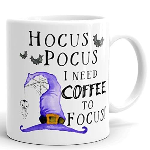 Hocus Pocus I Need Coffee To Focus - Mug - Tea Cup - 11 oz. Cocoa Beverage - Halloween - Fall