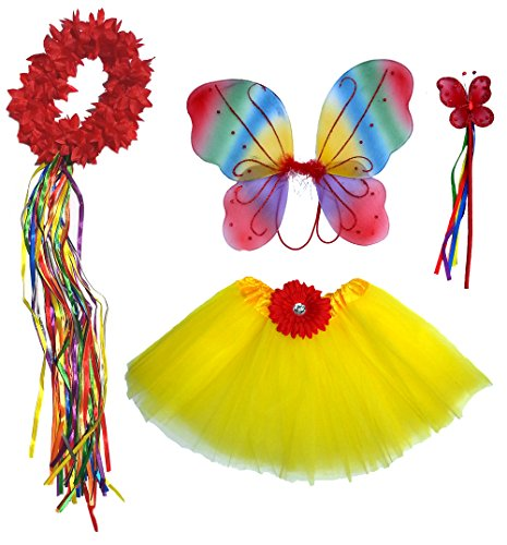 [5 Pc Girls Rainbow Fairy Set with Matching Wand, Headband & Hairclips] (Flower Child Costumes Ideas)