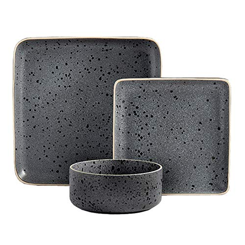 Tabletops Gallery Madison Fashion Dinnerware Collection- Square Contemporary Modern Reactive Glaze Dinner Salad Plate…