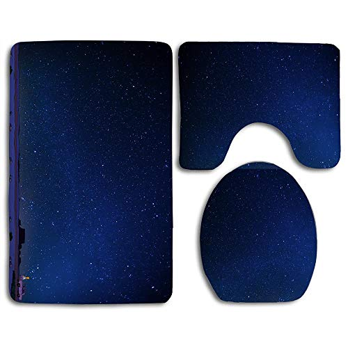 Bath Mat Sets Homer Look at Stars Contour Rug U-Shaped Toilet Lid Cover,Non Slip,Machine Washable,3-Piece Rug Set Easier to Dry for Bathroom