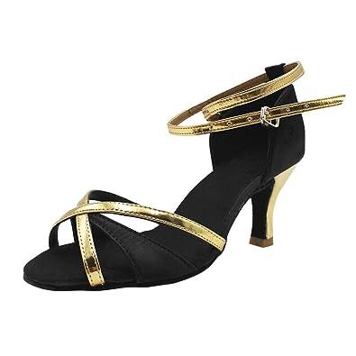 69162bd516eec uirend Sport Danse Chaussures Femme - Fille Élégant Satin Hauts Talon  Paillette Salle de Bal Chaussures