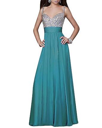 6f33e56855f5 Damen Paillettenkleid V-Ausschnitt Chiffon Abendkleid Cocktailkleid Partykleid  Maxi Kleid Blau Small