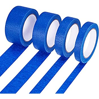 Bememo 4 Pieces Easy Release Painters Masking Tape of 4 Width (18 mm, 24 mm, 36 mm, 48 mm), Total 120 m, Blue