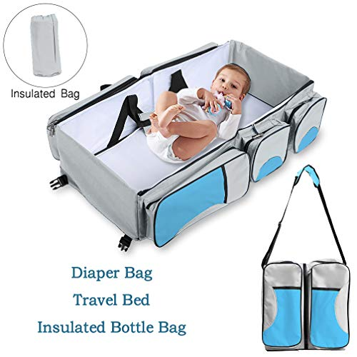 Baabyoo Baby Travel Bed Bag Baby Diaper Bag Portable Baby Diaper Change Station 4 in 1 Folding Baby Bag Newborn Carrier Infant Bassinet Baby Tote Bag Folding Crib Baby Shower Gift (Blue 2) (Folding Bassinet Travel)