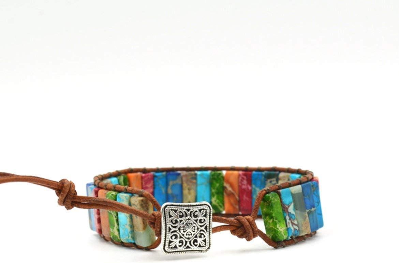 JohnJohnsen Pulsera de Chakra Multicolor Hecha a Mano de Piedra Natural Joyas-Tubos de Perlas Pulsera de Cuero de una Sola Capa Estilo étnico (Multicolor)