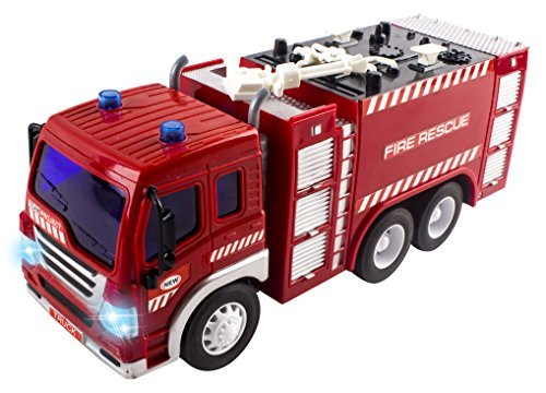 Remote Control Fire Truck RC Truck Rescue Heroes 1:16 Four Channel Full Function w/ Lights & Music Battery Powered RC Truck Toy ()