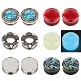 TOPBRIGHT 12PCS Mixed Styles Glow in the dark Blood Liquid Filled Plugs Expander Piercing Ear Gauges kit