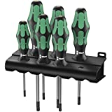 Wera 05138250004 Kraftform Plus 367/6 Torx BO Safety Screwdriver Set and Rack, with Bore Hole, 6-Piece