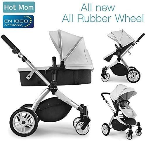 Multi cochecito 2 en 1 Carrito Bebe Hot Mom silla de paseo el capazo se convierte fácilmente en una silla y viceversa 2020 estilo de vida 889, Asiento para bebé vendido por separado - Gris
