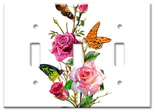 Art Plates Brand Triple Toggle Switch / Wall Plate - Butterflies on Roses