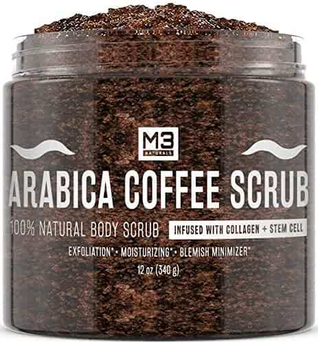 M3 Naturals Arabica Coffee Scrub Infused with Collagen and Stem Cell All Natural Body and Face Scrub for Acne Cellulite Stretch Marks Spider Veins Scars Wrinkles Skin Care Exfoliator 12 oz