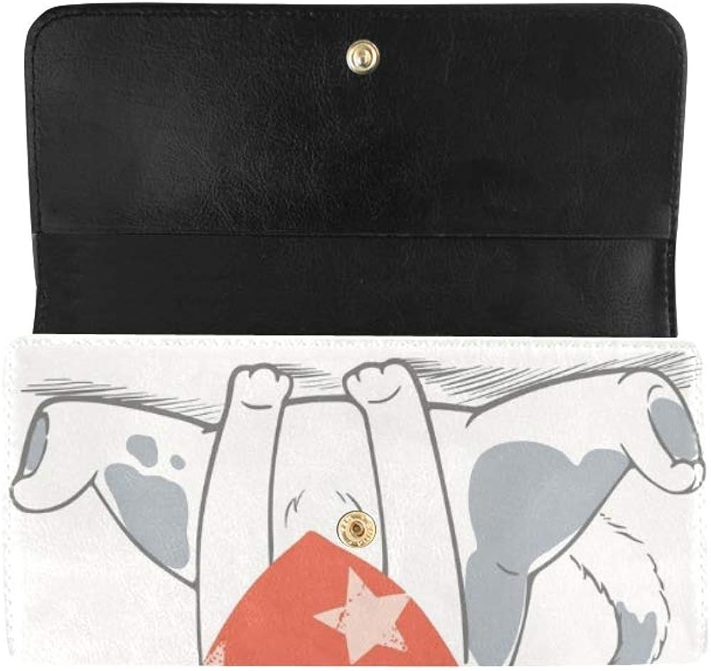 Unique Custom Cute Dog Cartoon Hand Drawn Women Trifold Wallet Long Purse Credit Card Holder Case Handbag