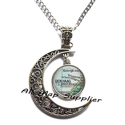 Charming Moon The Hague map pendant, The Hague necklace Den Haag pendant, Netherlands map pendant, Hague pendant,A0025 -