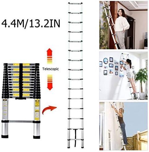 Escalera plegable de aluminio, escalera telescópica extensible de diseño telescópico de aluminio de alta calidad, escalera multiusos, 15 peldaños, capacidad de carga de 150 kg (4,4 m): Amazon.es: Bricolaje y herramientas