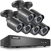 ANNKE FULL HD 1080p Lite Outdoor Surveillance System and(6) Weatherproof HD Security Cameras, 8 Channel 5-in-1 DVR, 66ft Night Vision, Customizable Motion Detection,NO HDD
