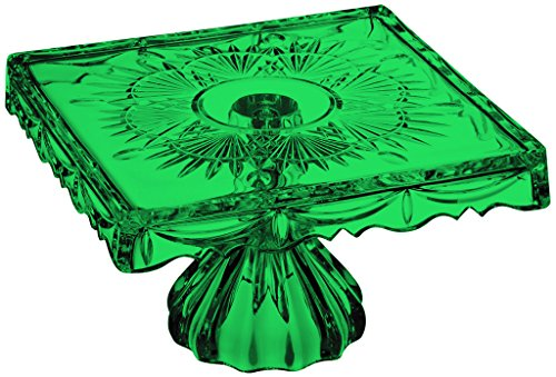 - Godinger Crystal Freedom 10-Inch Footed Cake Plate - Full Color Emerald Green - Additional Vibrant Colors Available by TableTop King