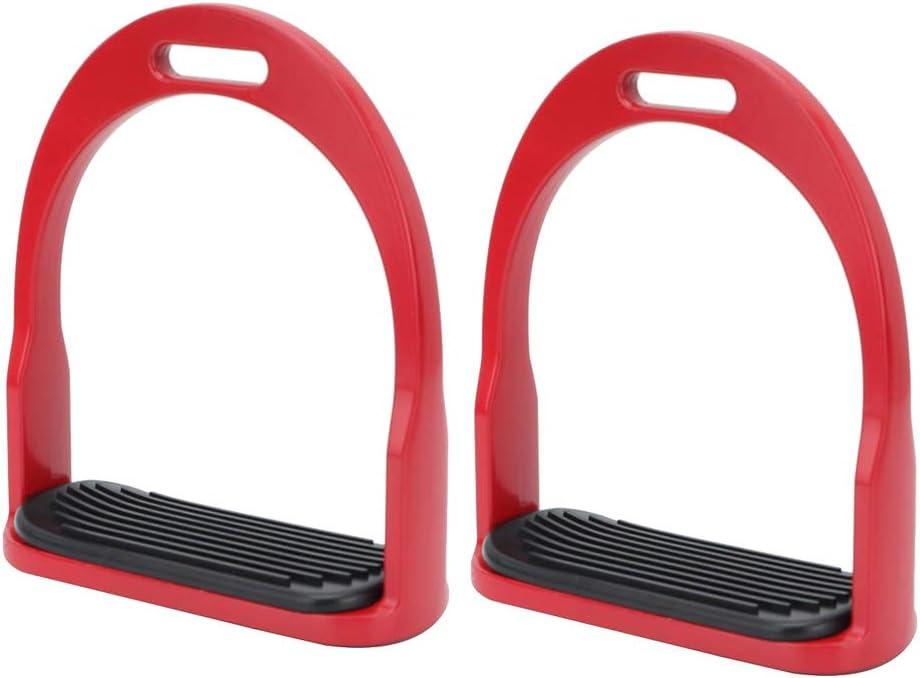 HEEPDD 1 par de estribos, Antideslizante de Aluminio de la Silla del Caballo Estribos ingleses con Acero Inoxidable Pedal Antideslizante Montar a Caballo Seguridad Ecuestre(Rojo)