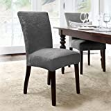 Coverworks DAHL1830SLAT4 Dahlia Stretch Dining Chair Slipcover in Slate 4 Pack,Slate,Parson's Chair