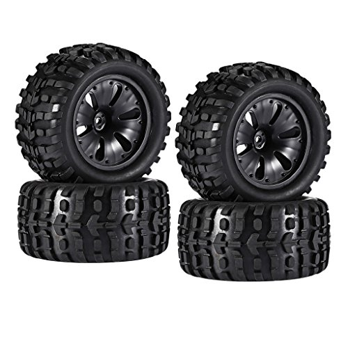 Monster Truck Tires Mt (MonkeyJack 4 Pieces 1/10 RC Car Monster Truck Wheels Tires High Speed for HPI Savage LRP MT Model Toys Spare Parts)