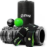 Zizz Fit Foam Roller Muscle Massage Set c/w Massage Balls & Resistance Band, Roll & Stretch for Deep...