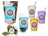 10+ Drinks Green Coconut Boba Tea Kit: Tea Powder, Tapioca Pearls & Straws By Buddha Bubbles Boba
