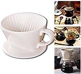 Ceramic Coffee Dripper, ForNeat Filter Cone, Pour Over Coffee Cone Dripper Filter with Cup Stand, Size 02(1-4 cups)