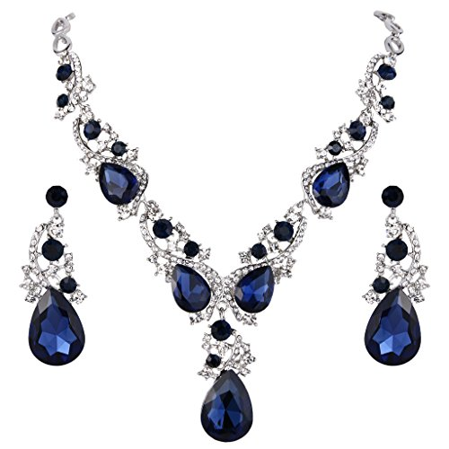 BriLove Women's Wedding Bridal Crystal Multi Teardrop Cluster Statement Necklace Dangle Earrings Set Sapphire Color (Victorian Jewelry)