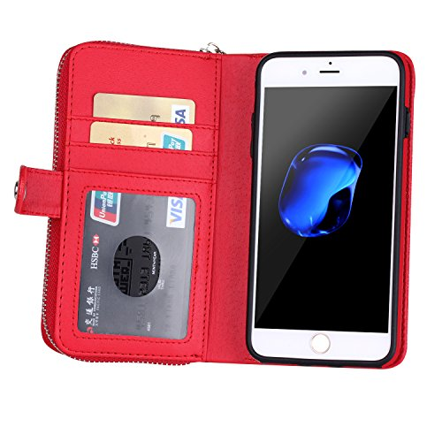 DRUnKQUEEn iPhone 7 Case, Zipper Wallet Type Flip Folio Case Premium Leather Credit Card Holder Feature - Detachable Magnetic Back Cover with Lanyard Wrist Hand Strap for iPhone7(4.7'') - Red