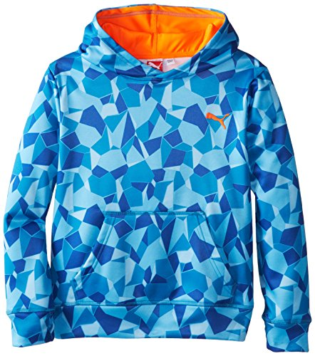 PUMA Big Boys' Performance Printed Hoodie, Royal, 14-16 (Large)