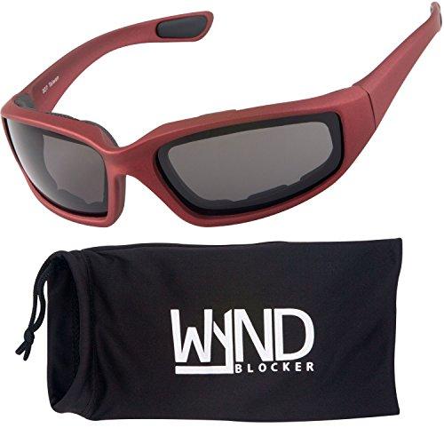 WYND Blocker Polarized Motorcycle & Fishing Floating Sports Wrap Sunglasses (Red / PZ Smoke - Sunglasses Riding