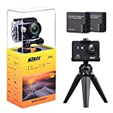W9s+ Action Camera 4k Full HD Wifi Waterproof Sports DV Camcorder with 4K 10fps 1080P 30fps 720P 30fps Video 12MP Photo and 170 Wide Angle Lens includes 11 Mountings Kit 2 Batteries Black