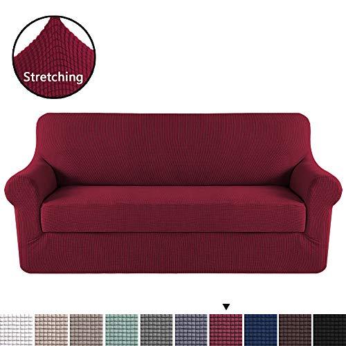 H.VERSAILTEX Burgundy Red Color 2-Piece Spandex Stretch Sofa Slipcover for XL Sofa, Anti-Slip Foams, Machine Washable Furniture Protector ()