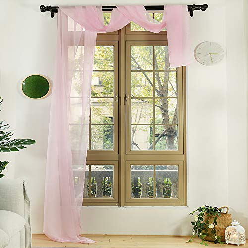 Anjee Pink Window Scarf Extra Long 216 Inches, Semi Sheer Valance Window Treatment Voile Curtain Drapes, Elegant Home Decor for Girls' Bedroom, Party and Wedding(1 Panel, W52 X L216 inches)
