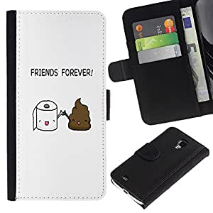 KLONGSHOP // Tirón de la caja Cartera de cuero con ranuras para tarjetas - AMIGOS IMPULSO ASEO DIVERTIDO - Samsung Galaxy S4 Mini i9190 //