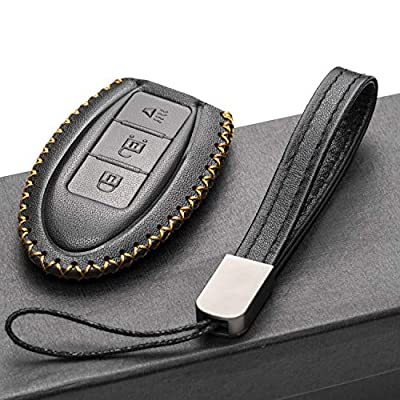 Vitodeco Leather Smart Key Fob Case Cover for 2020 Nissan Versa, Sentra, Altima, Maxima, Rogue, 2020 Infiniti Q50, Q60, QX50, QX60, QX80 and More Models (3 Buttons, Black): Automotive