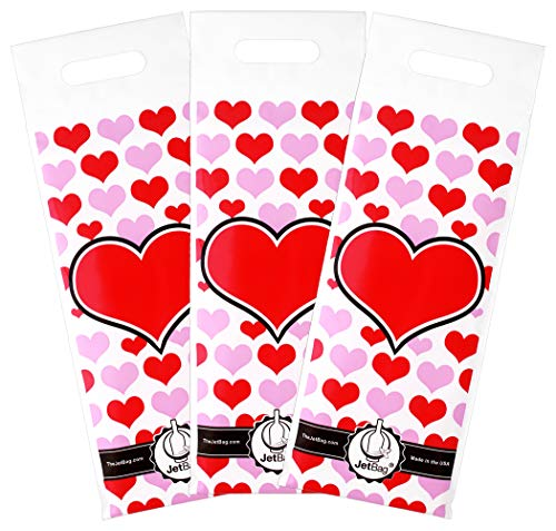 Jet Bag HEART - The Original ABSORBENT Reusable & Protective Bottle Bags - PACK OF 3 - MADE IN THE USA (Jet Bag Idea Mia)