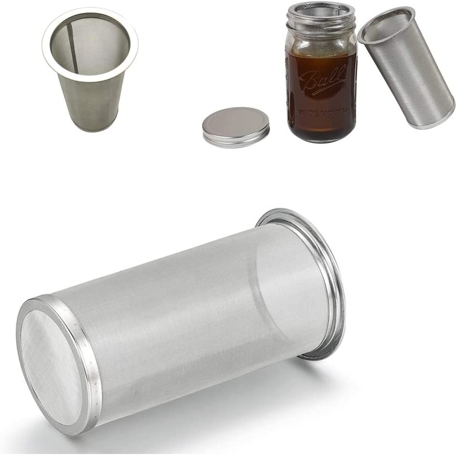 Cold brew coffee filters- Resuable cold brew maker mason jar filter 32oz/1 quart mason jar filter cold brew for easily iced coffee making at home (1 cold brew filters)