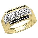 0.45 Carat (ctw) 14K Yellow Gold White & Black Diamond Men's Hip Hop Pinky Ring 1/2 CT (Size 11)