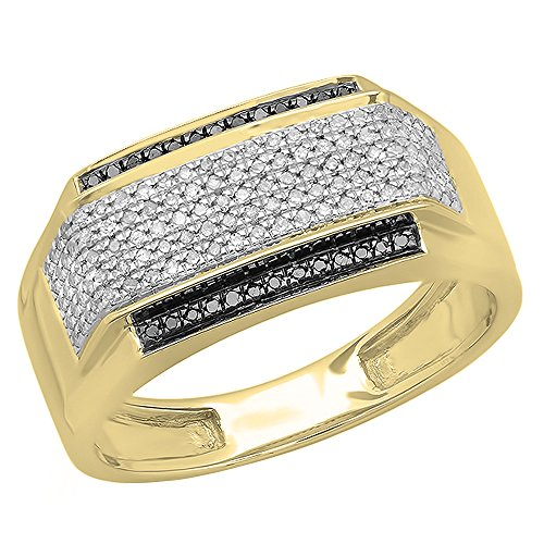 0.45 Carat (ctw) 14K Yellow Gold White & Black Diamond Men's Hip Hop Pinky Ring 1/2 CT (Size 11) by DazzlingRock Collection