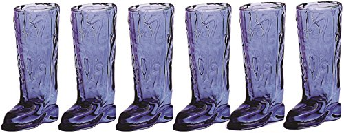 Circleware Kickback Holiday Blue Glass Shot Glass Set, 1.5 Ounce , Set of 6 Cowboy Boot Shaped Drink Glasses, Limited Edition Glassware Drinkware Barware